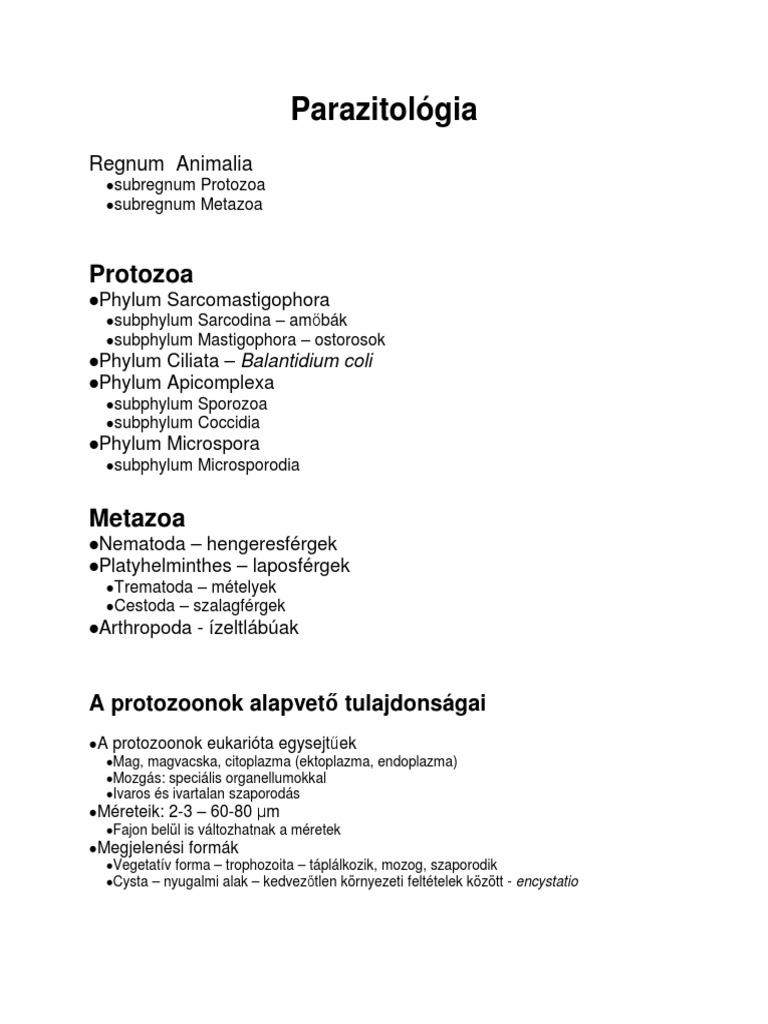 specifikus paraziták és protozoák
