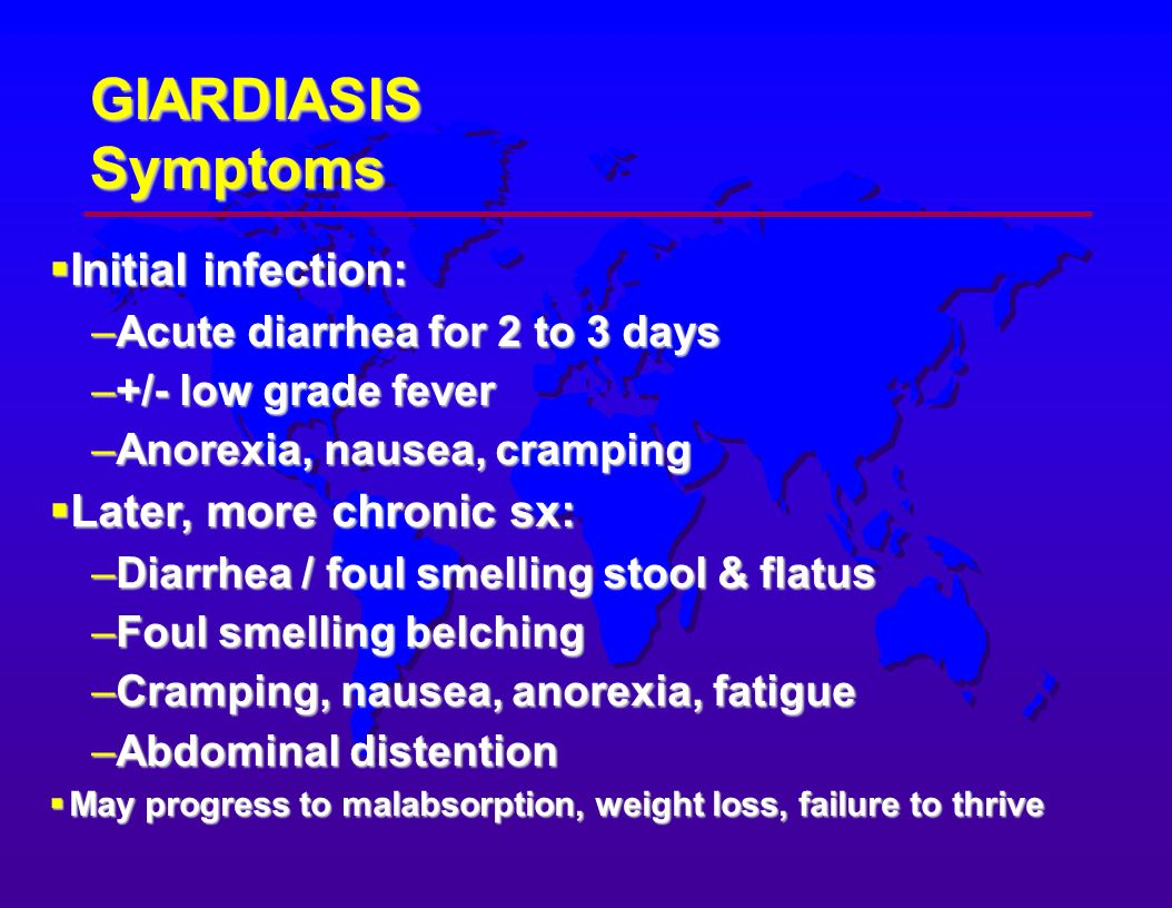 giardia symptoms in humans féver