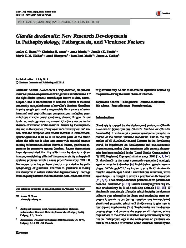 giardia duodenalis pathogenesis)