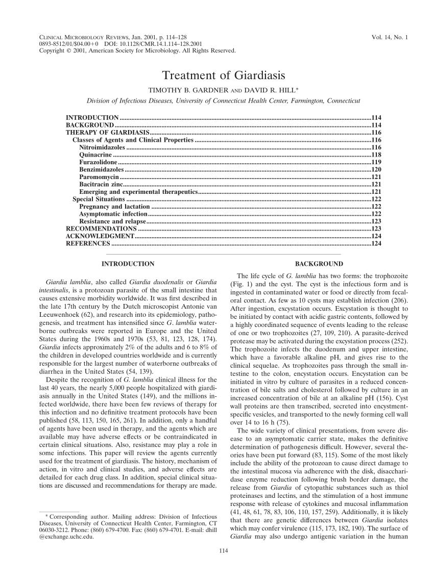 giardiasis enterol kezelés)
