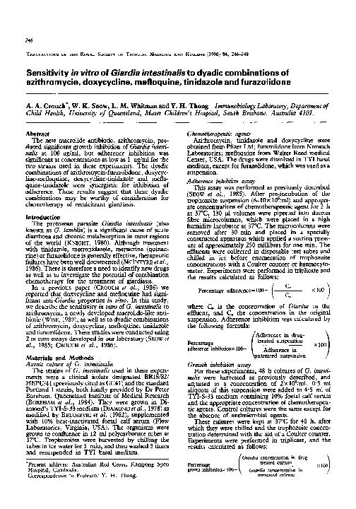 azithromycin giardia